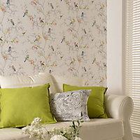 Holden Décor Statement Ornithology Multicolour Birds Metallic effect Smooth Wallpaper