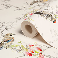 Statement Ornithology Birds Metallic Wallpaper