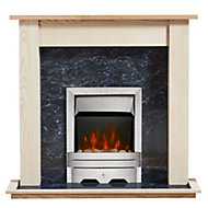 Focal Point Lulworth Kingswood Brushed stainless steel effect Electric Fire Suite