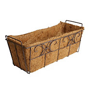 Distressed Brown Through planter (H)210mm (L)530mm