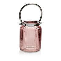 Pink Ribbed Glass Lantern