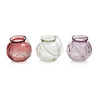 Small Multicolour Ribbed Glass Tea light holder, Set of 3