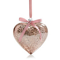 Small Heart Glass Hanging ornament, Pink