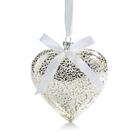 Small Heart Glass Hanging ornament, Silver effect