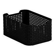 Black rattan effect 7L Plastic Storage basket (H)130mm (W)190mm