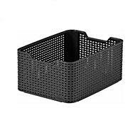 My Style Black Rattan Effect 18L Woven Plastic Storage Basket
