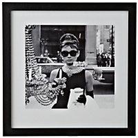 Audrey Hepburn Black & white Framed print (W)340mm (H)340mm