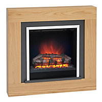 Be Modern Brandon Natural Oak effect Electric Fire Suite