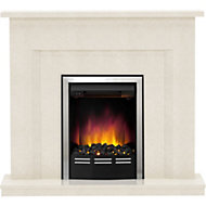Be Modern Mariano Manila Micro Marble Chrome effect Electric Fire Suite
