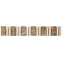 Almond Beige Stone effect Mosaic Ceramic Border tile, (L)305mm (W)48mm