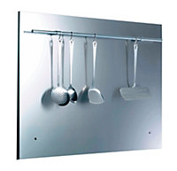 Glen Dimplex Stainless steel Splashback, (H)750mm (W)100mm (T)10mm