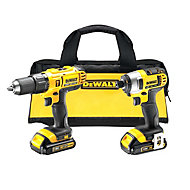 Dewalt XR 18V 1.3Ah Lithium-ion Hammer drill driver & impact driver set 2 batteries DCZ298C2-GB