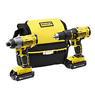 Stanley FatMax Cordless 18V 1.3A Li-ion Brushed Combi drill & Impact driver 2 batteries FMCK465C2S-GB
