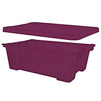 Kaze Pink 10L Plastic Stackable Storage box with lid, Set of 4