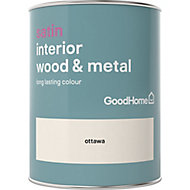 GoodHome Ottawa Satin Metal & wood paint, 0.75L