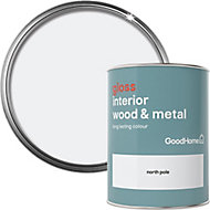 GoodHome North pole Gloss Metal & wood paint, 0.75L
