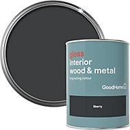 GoodHome Liberty black Gloss Metal & wood paint, 0.75L