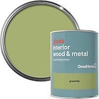GoodHome Greenhills Gloss Metal & wood paint, 0.75L
