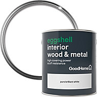 GoodHome Extra hardwearing Pure brilliant white Eggshell Metal & wood paint, 2.5L