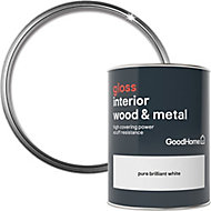 GoodHome Extra hardwearing Pure brilliant white Gloss Metal & wood paint, 0.75L