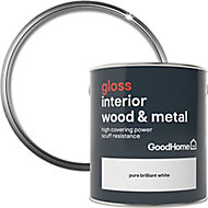 GoodHome Extra hardwearing Pure brilliant white Gloss Metal & wood paint, 2.5L