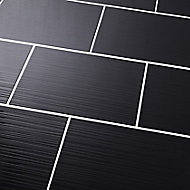 Salerna Black Gloss 3D decor Ceramic Wall tile, Pack of 10, (L)402.4mm (W)251.6mm