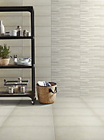 Konkrete Ivory Matt Concrete effect Porcelain Floor tile, Pack of 8, (L)307mm (W)617mm