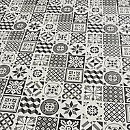 Konkrete Black & white Matt Concrete effect Ceramic Wall tile, Pack of 8, (L)600mm (W)200mm