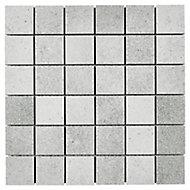 Kontainer Light grey Concrete effect Porcelain Mosaic tile sheets, (L)305mm (W)305mm