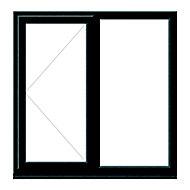 GoodHome Clear Double glazed Grey uPVC LH Window, (H)1115mm (W)1190mm