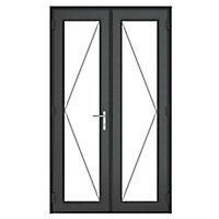 GoodHome Clear Double glazed Grey uPVC External Patio door & frame, (H)2090mm (W)1190mm