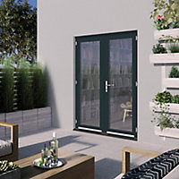 GoodHome Clear Double glazed Grey Hardwood Reversible Patio door & frame, (H)2094mm (W)1794mm