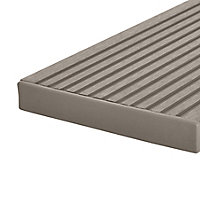 GoodHome Neva Polyethylene (PE) Deck finishing end cap Taupe (L) 145mm (W) 21mm, Pack of 10