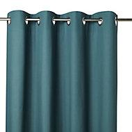 Hiva Pine green Plain Eyelet Curtain (W)140cm (L)260cm, Single