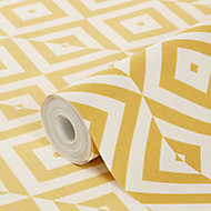 GoodHome medunim Yellow Geometric Textured Wallpaper