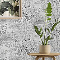 GoodHome Oophoric Black & white Toucan Textured Wallpaper