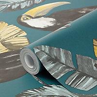 GoodHome Phane Teal Toucan Wallpaper