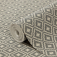 GoodHome Cliffiest Charcoal Geometric Textured Wallpaper