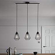 Smertrio Matt Black 3 Lamp Pendant ceiling light