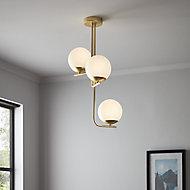 Baldaz Brushed Brass effect 3 Lamp Pendant ceiling light