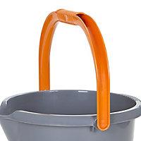 Grey & orange Plastic 16L Bucket