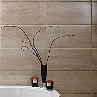 Origin Sand Gloss Stone effect Ceramic Wall tile, Pack of 8, (L)498mm (W)248mm