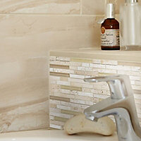 Fossilised wood Sand Matt Stone Wood effect Ceramic Wall & floor tile, Pack of 6, (L)598mm (W)298mm