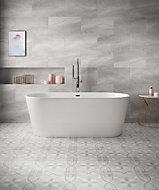 Perla Grey Matt Stone effect Ceramic Wall & floor tile, Pack of 6, (L)598mm (W)298mm