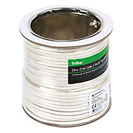 Tristar White 4 core Telephone cable, 25m