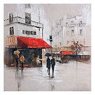 French café scene Multicolour Canvas art (W)800mm (H)800mm
