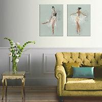 Ballerina Multicolour Canvas art, Set of 2 (H)770mm (W)570mm