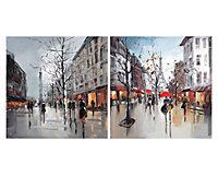 Paris street scenes Multicolour Canvas art, Set of 4 (H)400mm (W)400mm