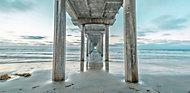 Distant pier Multicolour Canvas art (W)1200mm (H)600mm