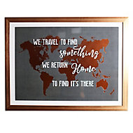 Travel typography Black & copper Canvas art (H)630mm (W)830mm